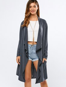 Long Sleeve Back Slit Long Cardigan