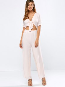 Cropped Tied Wide Leg Jumpsuit