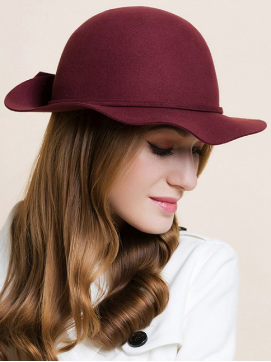 Bowknot Edge Dome Hat - WINE RED  Mobile
