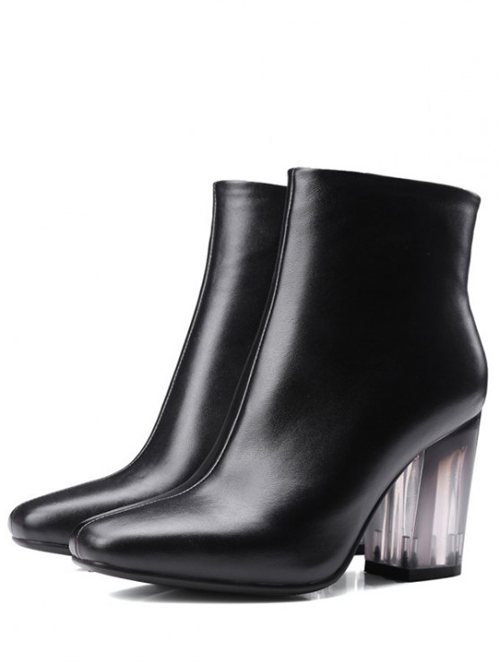 Clear Heel Zipper Square Toe Ankle Boots - BLACK 39 Mobile