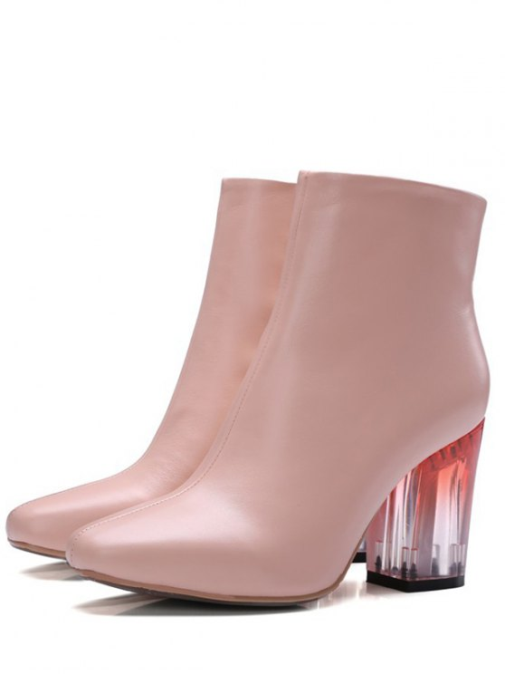 Clear Heel Zipper Square Toe Ankle Boots - PINK 37 Mobile