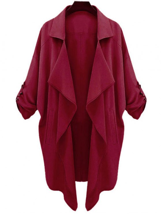 chic Long Sleeve Solid Color Trench Coat - CLARET S