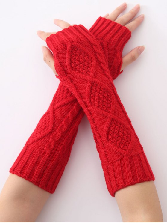 trendy Christmas Winter Diamond Hollow Out Crochet Knit Arm Warmers - RED