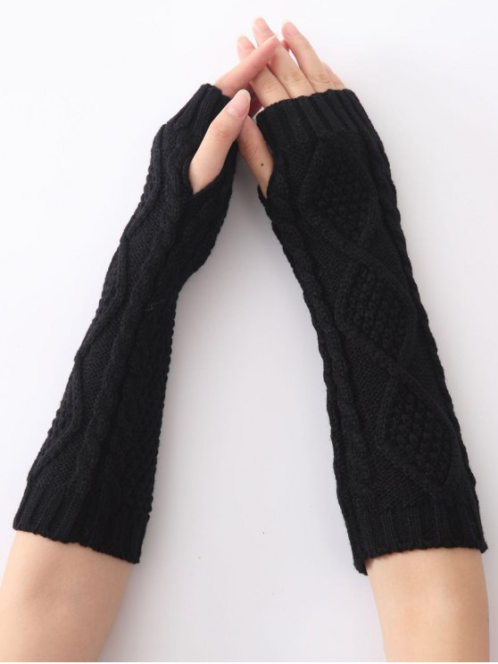 Christmas Winter Diamond Hollow Out Crochet Knit Arm Warmers - BLACK  Mobile