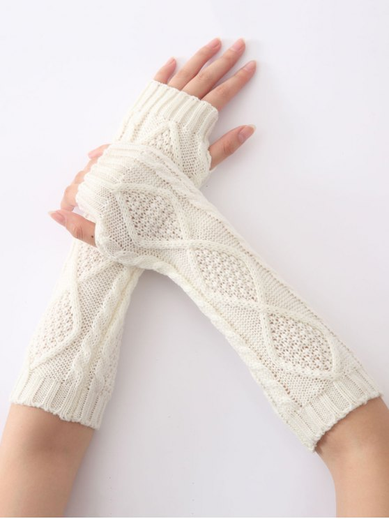 chic Christmas Winter Diamond Hollow Out Crochet Knit Arm Warmers - WHITE
