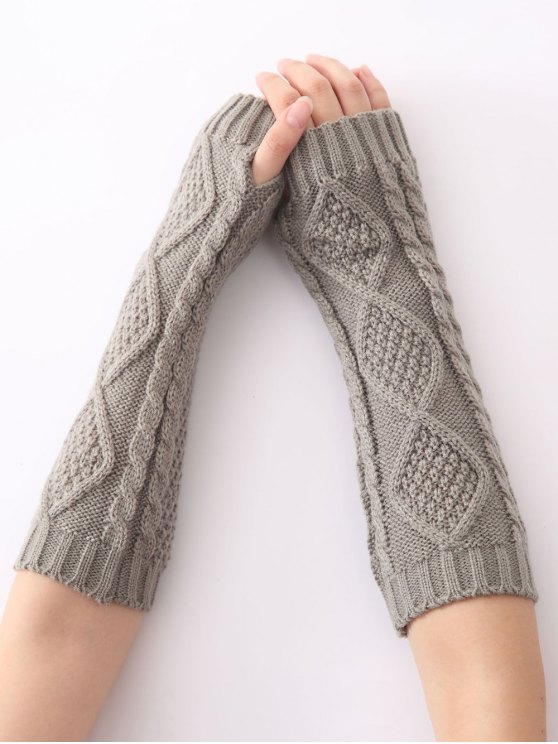 Christmas Winter Diamond Hollow Out Crochet Knit Arm Warmers - LIGHT GRAY  Mobile