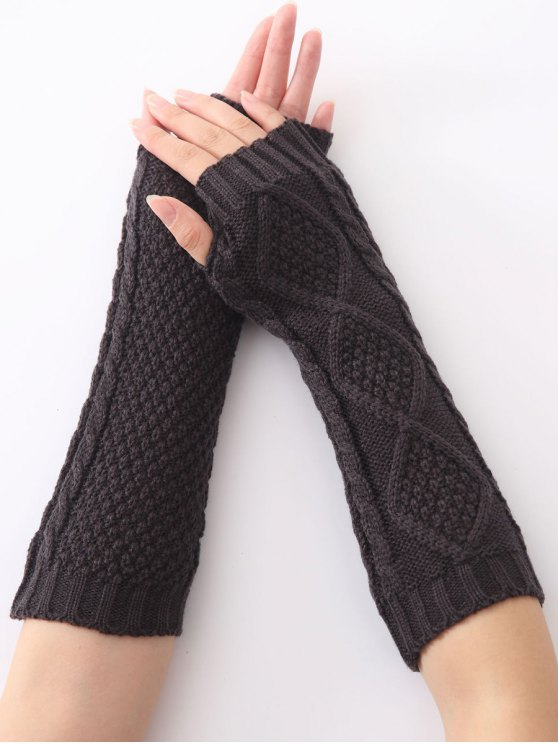 fancy Christmas Winter Diamond Hollow Out Crochet Knit Arm Warmers - DEEP GRAY