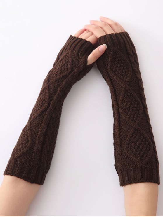 sale Christmas Winter Diamond Hollow Out Crochet Knit Arm Warmers - COFFEE