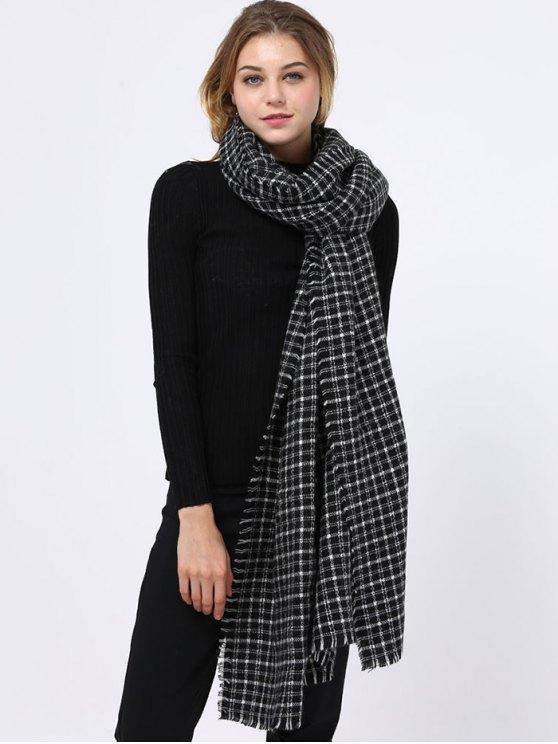 Pequeño modelo de la tela de la bufanda con flecos Edge - Negro