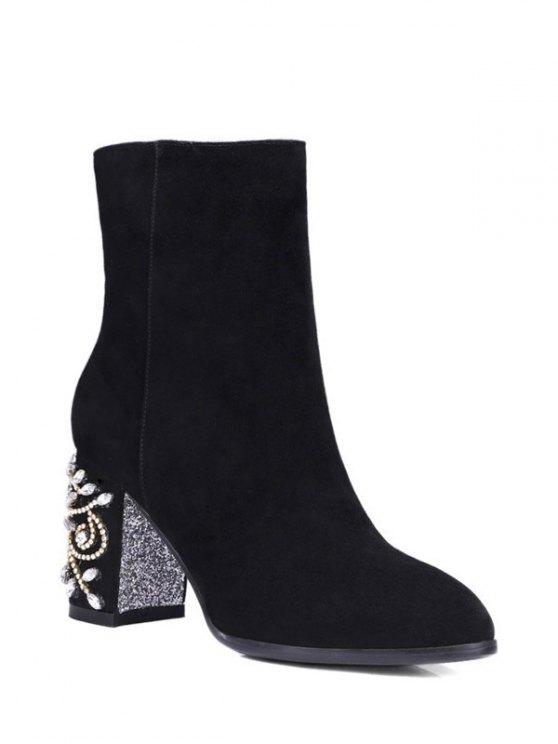 Rhinestones Chunky Heel Zipper Ankle Boots - BLACK 37 Mobile