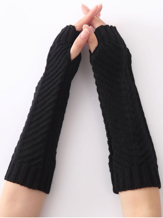 Christmas Winter Fishbone Crochet Knit Arm Warmers - BLACK  Mobile