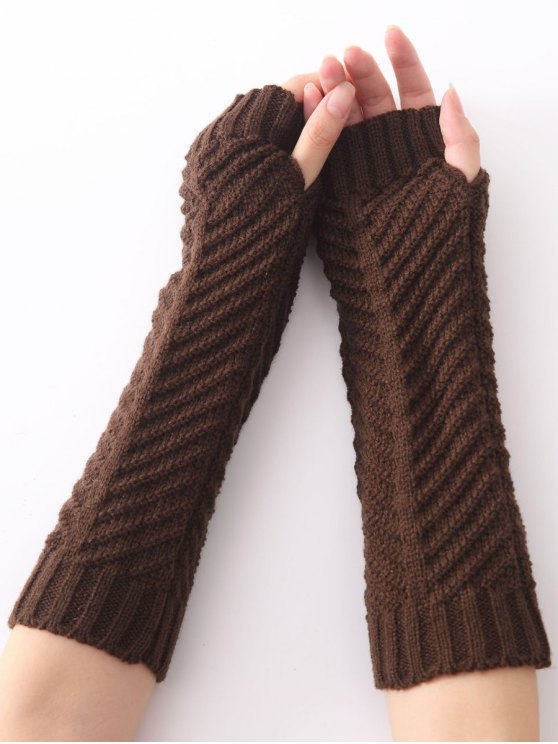 women's Christmas Winter Fishbone Crochet Knit Arm Warmers - COFFEE