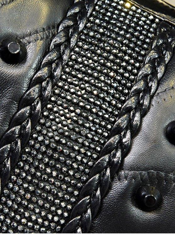 Stitching Fringe Rivet Handbag - BLACK  Mobile