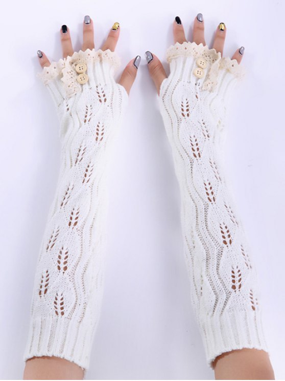 online Christmas Winter Lace Buttons Hollow Out Crochet Knit Arm Warmers - WHITE