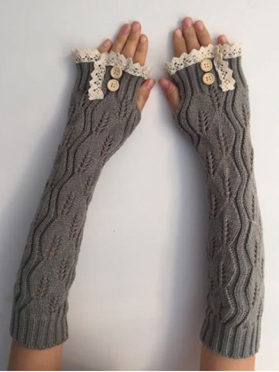 hot Christmas Winter Lace Buttons Hollow Out Crochet Knit Arm Warmers - LIGHT GRAY