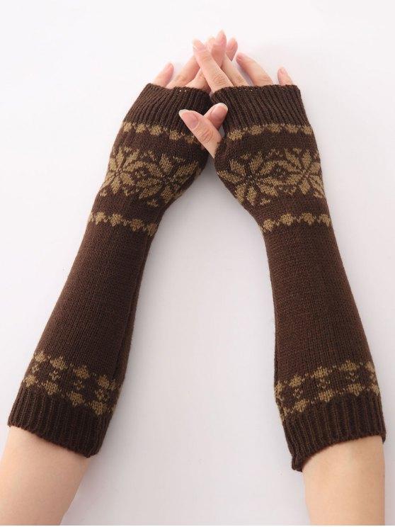 trendy Winter Warm Christmas Snow Floral Crochet Knit Arm Warmers - COFFEE