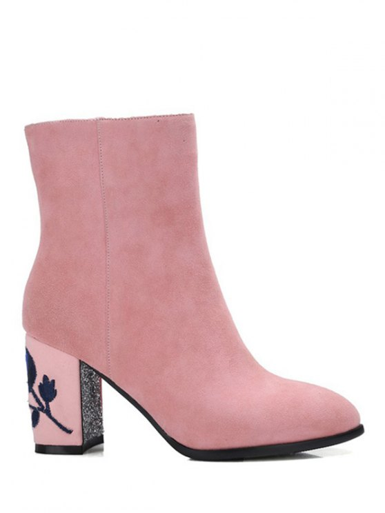 Flower Pattern Embroidery Sequins Ankle Boots - PINK 39 Mobile