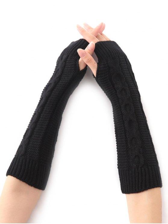 fashion Hemp Decorative Pattern Christmas Crochet Knit Arm Warmers - BLACK