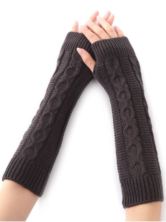 chic Hemp Decorative Pattern Christmas Crochet Knit Arm Warmers - DEEP GRAY