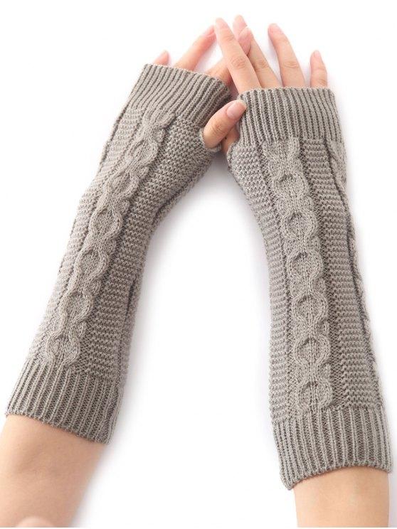 fancy Hemp Decorative Pattern Christmas Crochet Knit Arm Warmers - LIGHT GRAY