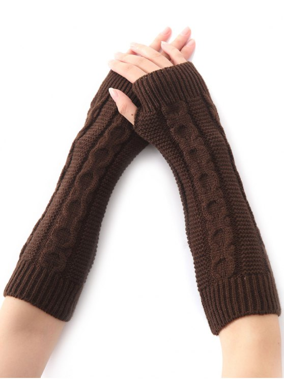 unique Hemp Decorative Pattern Christmas Crochet Knit Arm Warmers - COFFEE