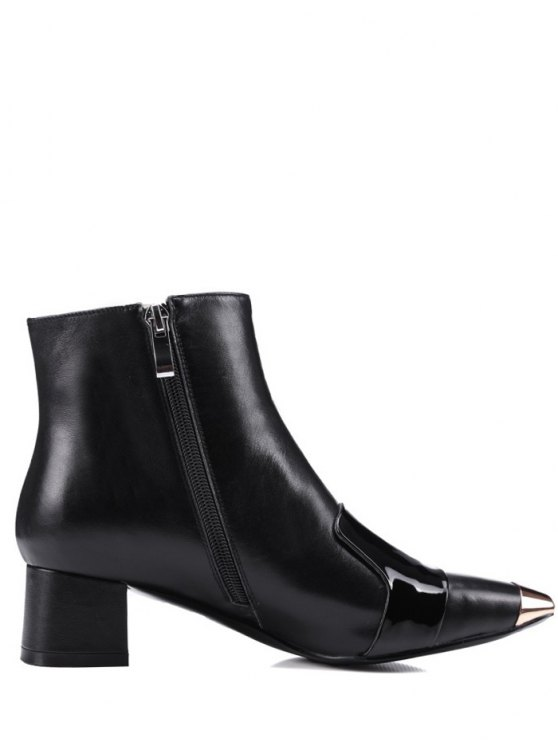 Metal Toe Splicing Zipper Ankle Boots - BLACK 39 Mobile