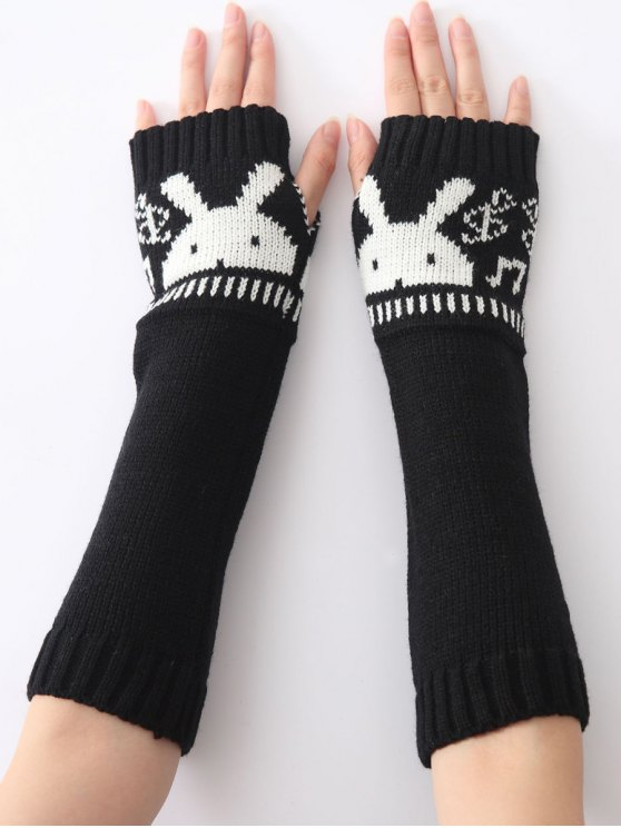sale Christmas Winter Rabbit Head Hollow Out Crochet Knit Arm Warmers - BLACK