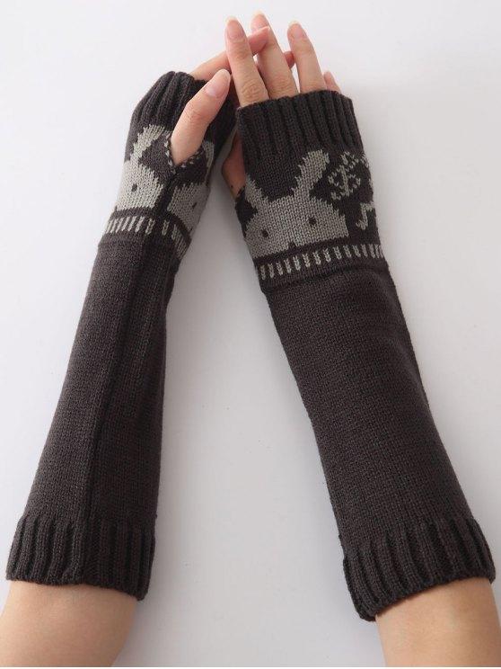 buy Christmas Winter Rabbit Head Hollow Out Crochet Knit Arm Warmers - DEEP GRAY