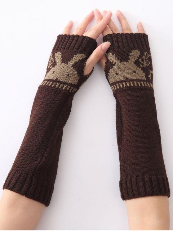 women Christmas Winter Rabbit Head Hollow Out Crochet Knit Arm Warmers - COFFEE