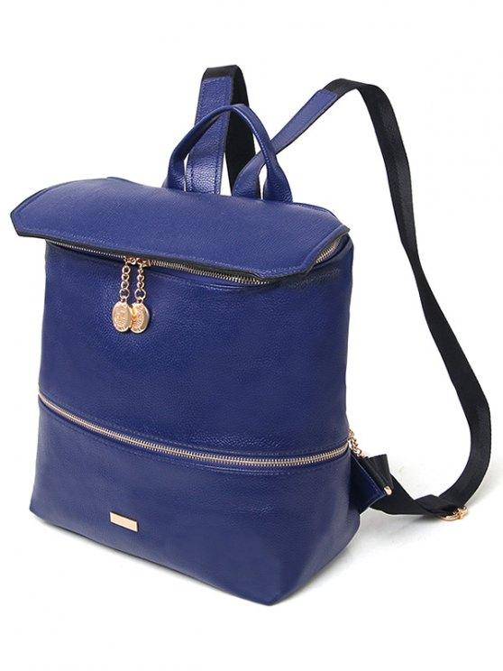 Metallic Zips PU Leather Backpack - BLUE  Mobile