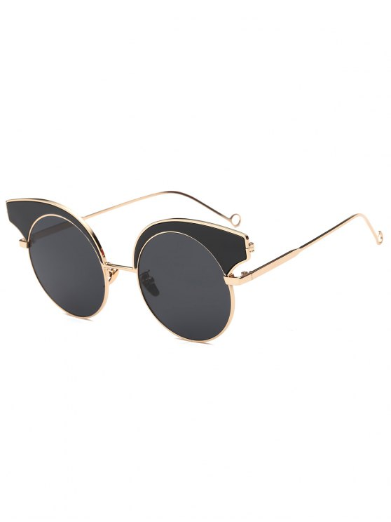shops Round Lens Butterfly Sunglasses - BLACK