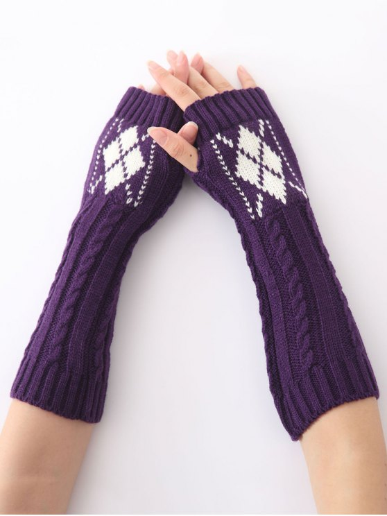 women's Hemp Decorative Pattern Diamond Christmas Crochet Knit Arm Warmers - PURPLE