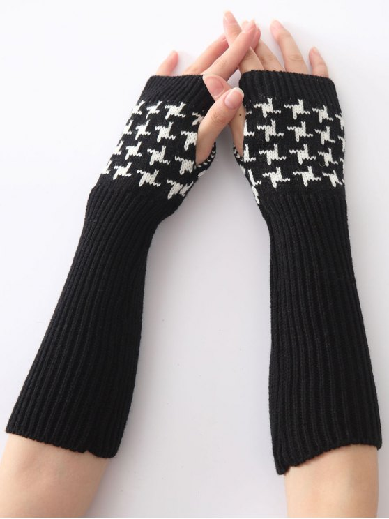 new Christmas Winter Vertical Stripe Plover Case Crochet Knit Arm Warmers - BLACK