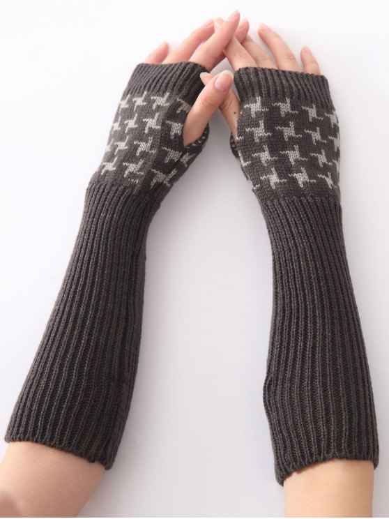 outfit Christmas Winter Vertical Stripe Plover Case Crochet Knit Arm Warmers - DEEP GRAY