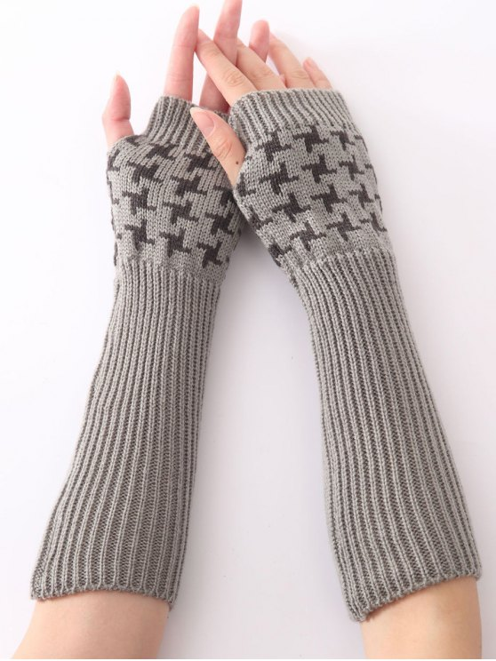 outfits Christmas Winter Vertical Stripe Plover Case Crochet Knit Arm Warmers - LIGHT GRAY