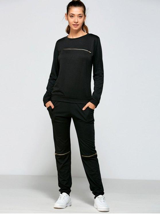 Capucha Cremallera y Pantalones con Bolsillos - Negro XL