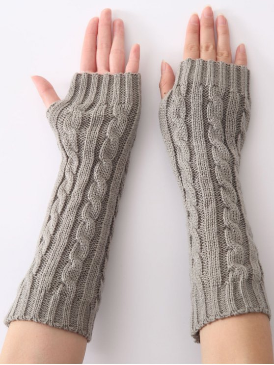 Hemp Decorative Pattern Christmas Keep Warm Crochet Knit Arm Warmers - LIGHT GRAY  Mobile