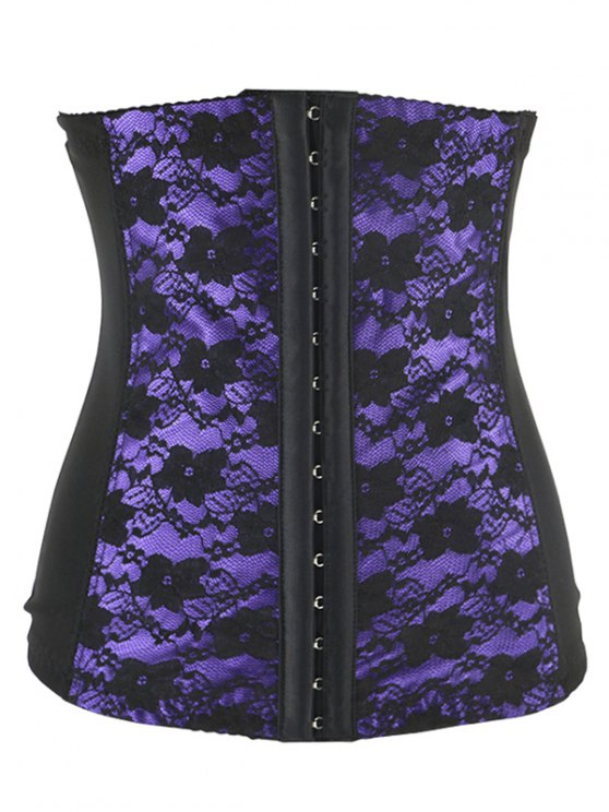 Retro Steal Boned Underbust Lace Corset - Pourpre 4XL