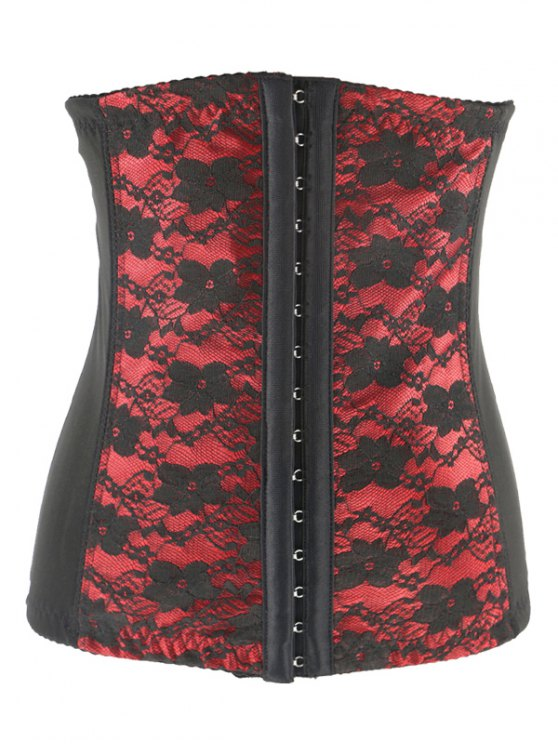 Retro Steal Boned Underbust Lace Corset - RED 2XL Mobile