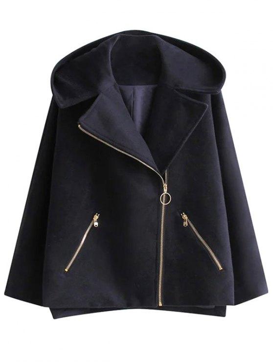 hot Hooded Inclined Zipper Wool Blend Coat - PURPLISH BLUE S