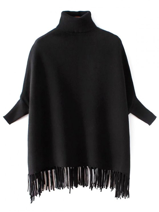 buy Turtleneck Fringed Dolman Sweater - BLACK ONE SIZE