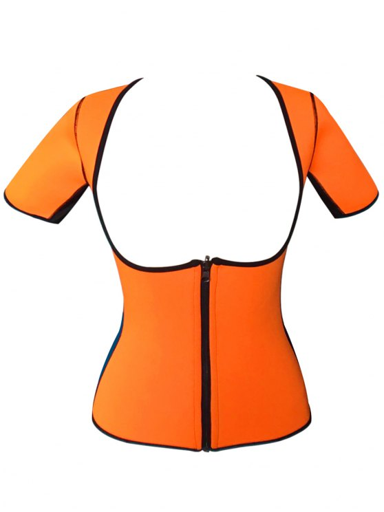 Zippered Double Side Color Block Bustiers - ORANGE 4XL Mobile