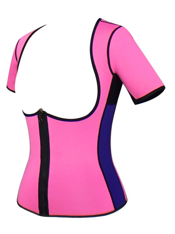 Zippered Double Side Color Block Bustiers - PINK 4XL Mobile