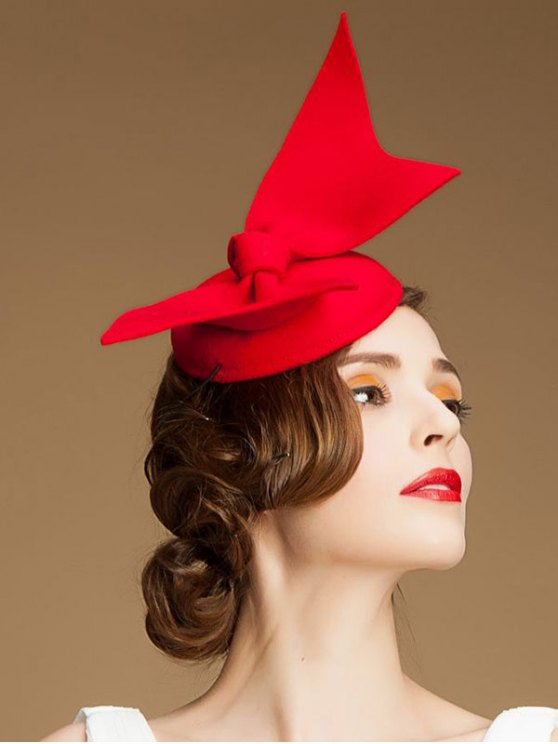 Butterfly Knot Cocktail Hat - RED  Mobile
