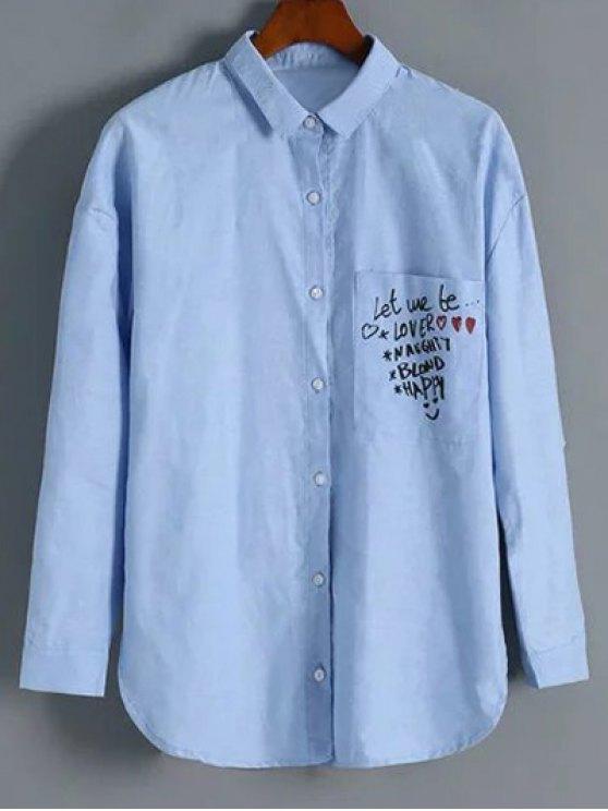 T-shirt à col revers avec boutons, avec poche à motif graphique - Bleu clair L