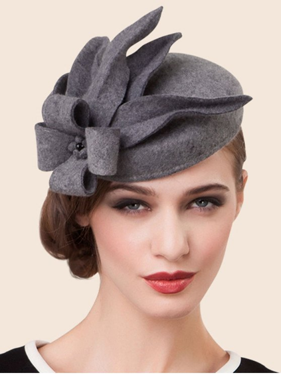 Wool Flower Cocktail Hat - GRAY  Mobile