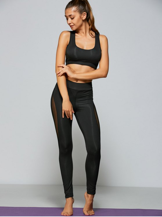 Mesh Panel Tight Fit Sports Bra and Pants - BLACK S Mobile