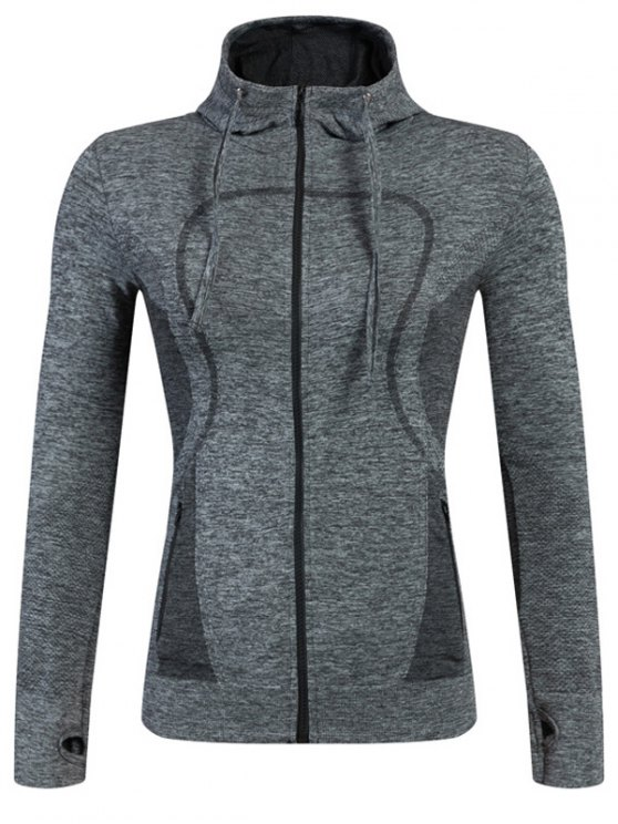 women's Sports Zipper Hoodie - GRAY L