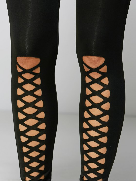 Tight Fit Cutout Crisscross Leggings - BLACK M Mobile