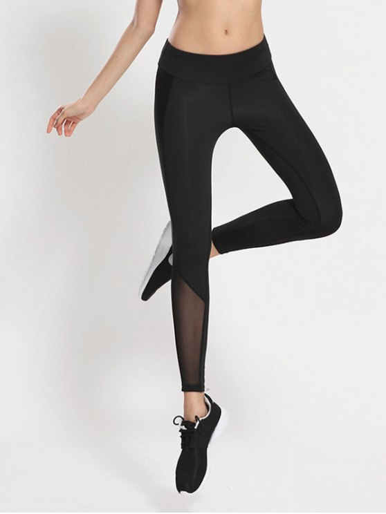 Bodycon Yoga Voile Leggings - BLACK M Mobile